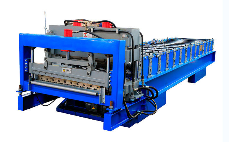 PLC Control Glazed Roof Tile Roll Forming Machine With Cr12 Tool Steel Cutter